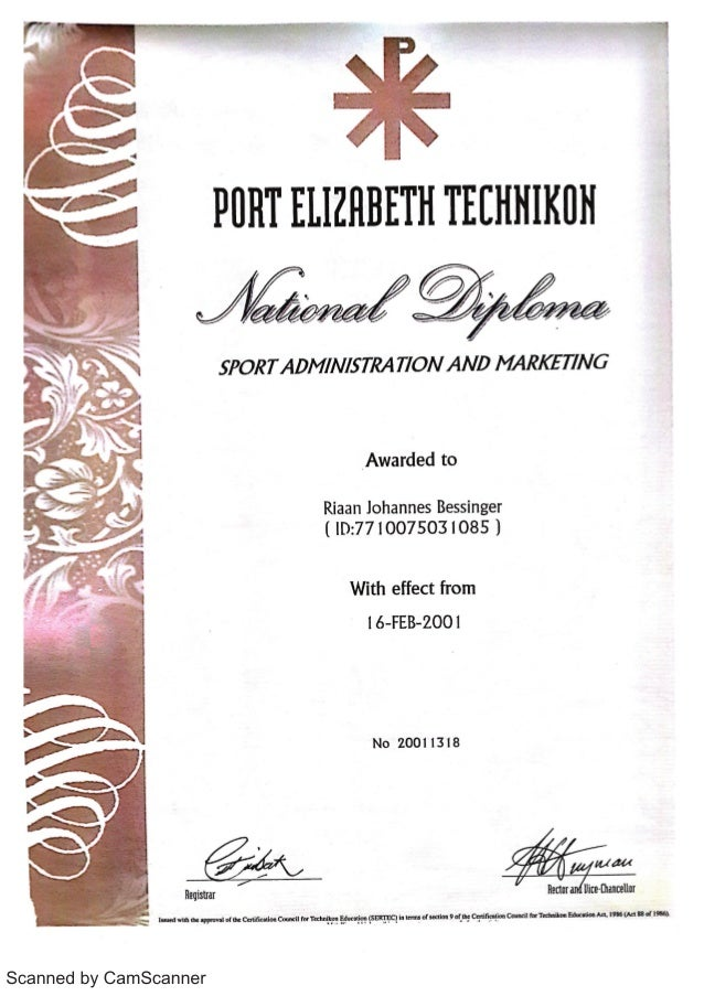 RJ Bessinger National Diploma