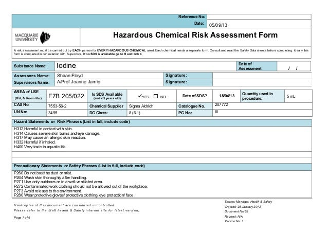 Msds iodine for Chemical risk assessment template