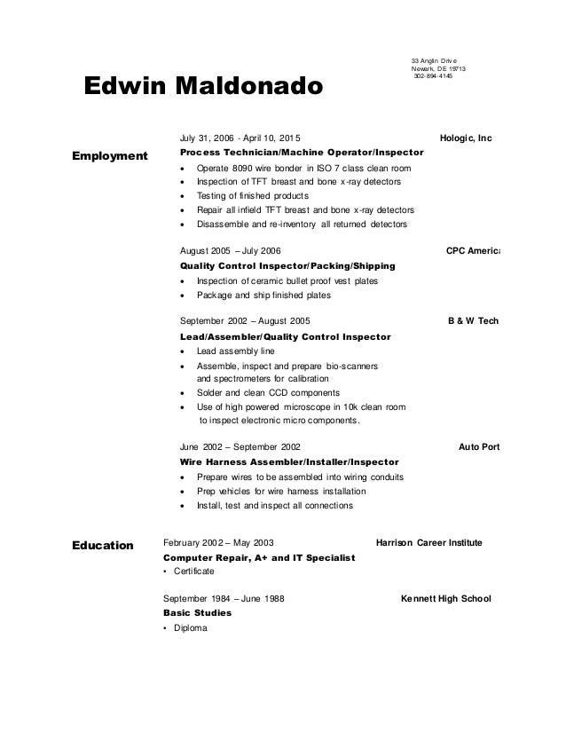 finished resume