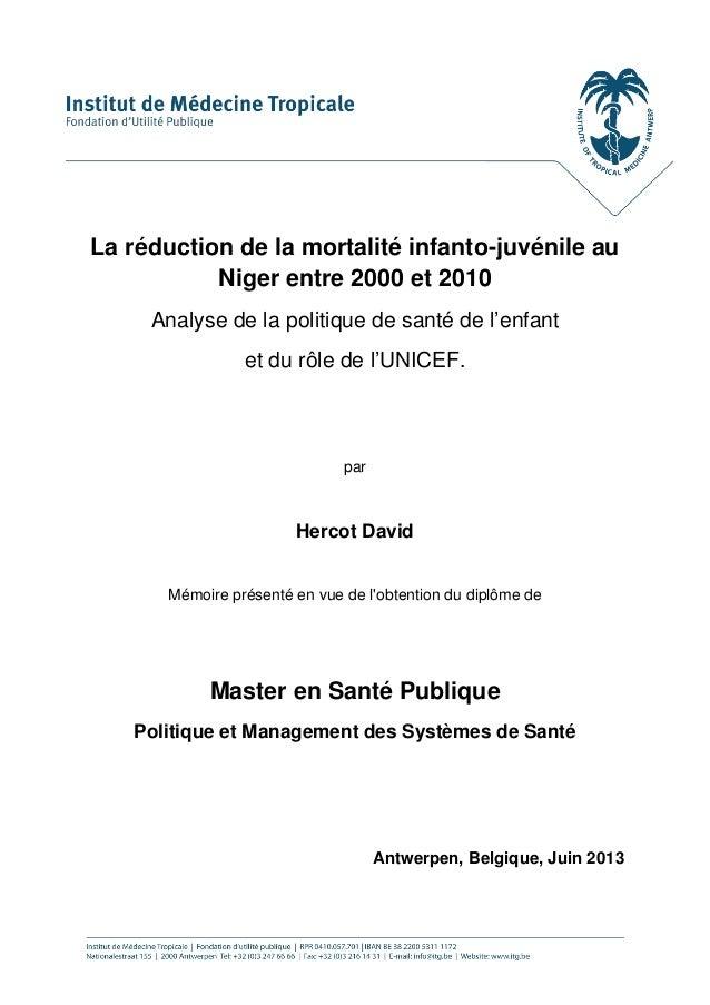 La réduction de la mortalité infanto-juvénile au Niger entre 2000 et 2010  Analyse de la politique de santé de l'enfant  e...