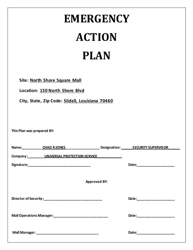 EMERGENCY ACTION PLAN Site: North Shore Square Mall Location: 150 North  Shore Blvd City ...