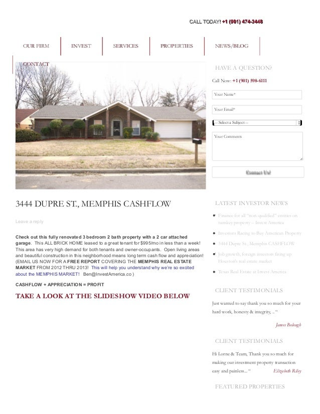 3444 DUPRE ST., MEMPHIS CASHFLOW Leave a reply Check out this fully renovated 3 bedroom 2 bath property with a 2 car attac...