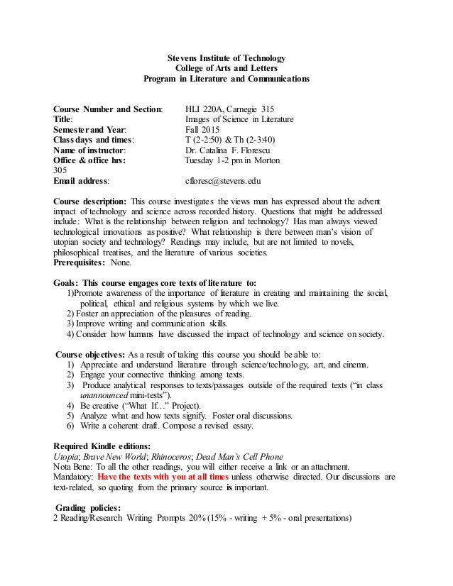 syllabus  stevens institute of technology college of arts and letters program in literature and communications course number