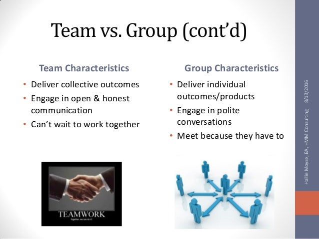 "groups vs teams essay Healthy respect for different opinions, customs, and individual preferences • ability to participate in group decision-making when employees work together to accomplish a goal, everyone benefits employers might expect to ""see"" this in action in different ways for example, team members in the workplace plan ahead and."