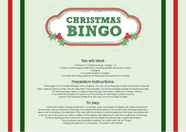 """You will need: a Printout of """"Christmas Bingo,"""" pages 1–5 a Clear contact paper (optional for covering boards and picture ..."""
