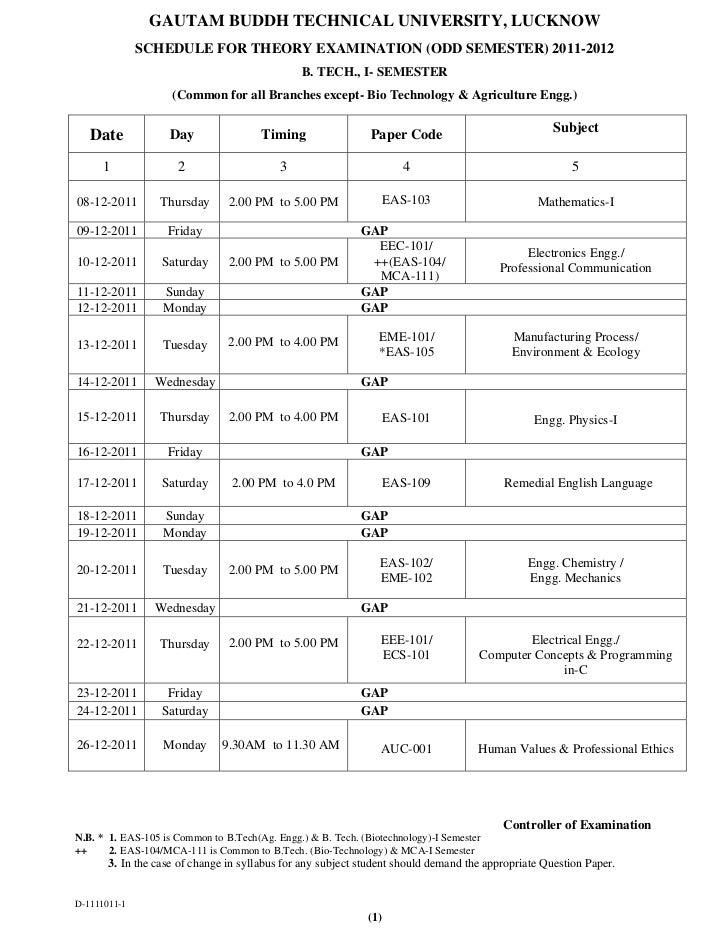 GAUTAM BUDDH TECHNICAL UNIVERSITY, LUCKNOW              SCHEDULE FOR THEORY EXAMINATION (ODD SEMESTER) 2011-2012          ...