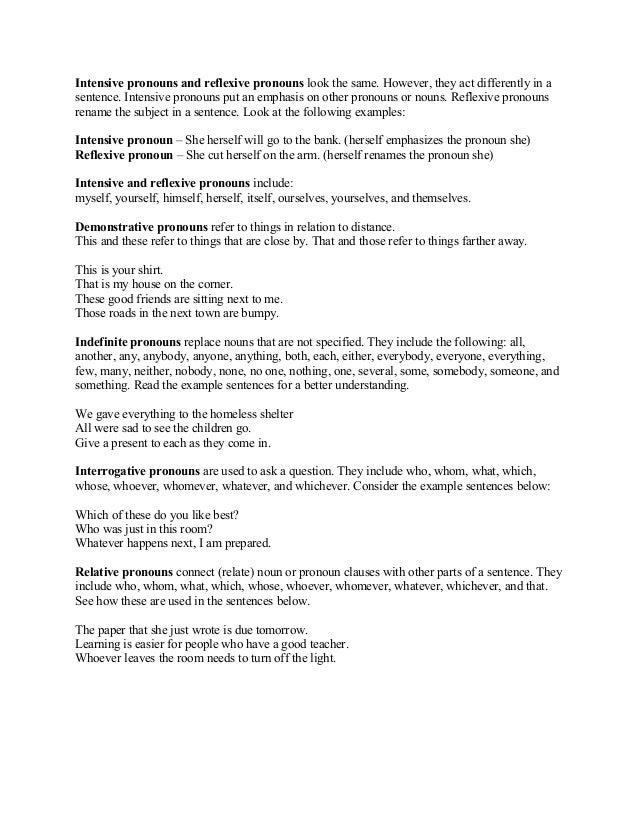34540400 listofpronouns – Intensive Pronouns Worksheet