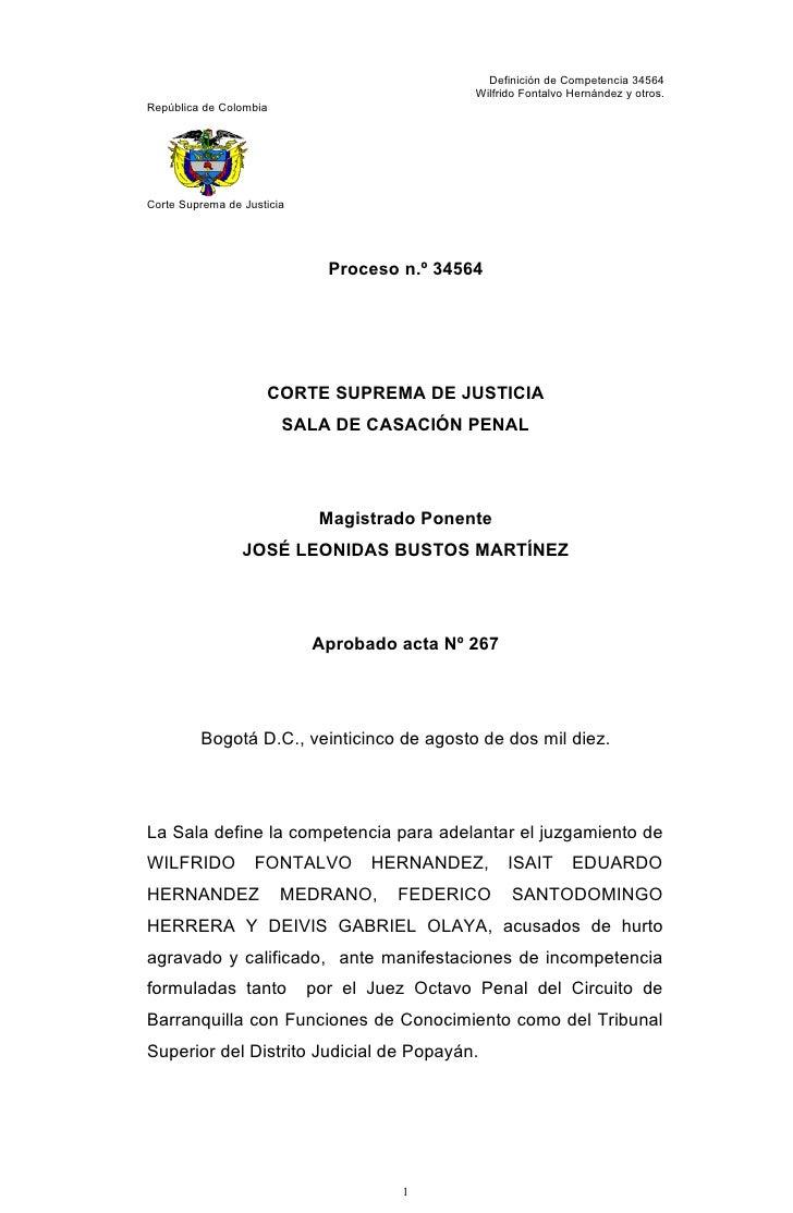 Definición de Competencia 34564                                                Wilfrido Fontalvo Hernández y otros. Repúbl...