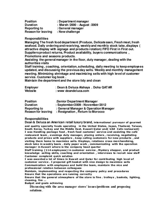 department manager resumes - Template