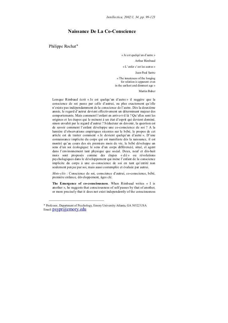 Intellectica, 2002/1, 34, pp. 99-123                  Naissance De La Co-Conscience   Philippe Rochat                     ...