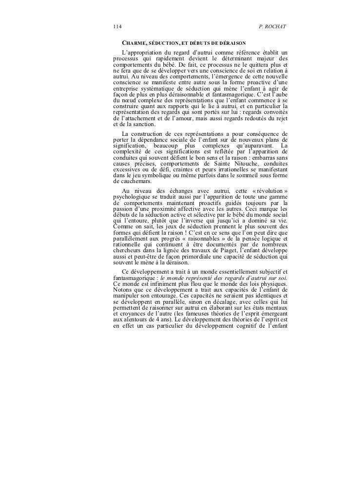 114                                                        P. ROCHAT      CHARME, SÉDUCTION, ET DÉBUTS DE DÉRAISON    L'ap...