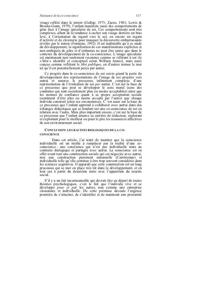 Naissance de la co-conscience                                      117visage reflété dans le miroir (Gallup, 1971; Zazzo, ...