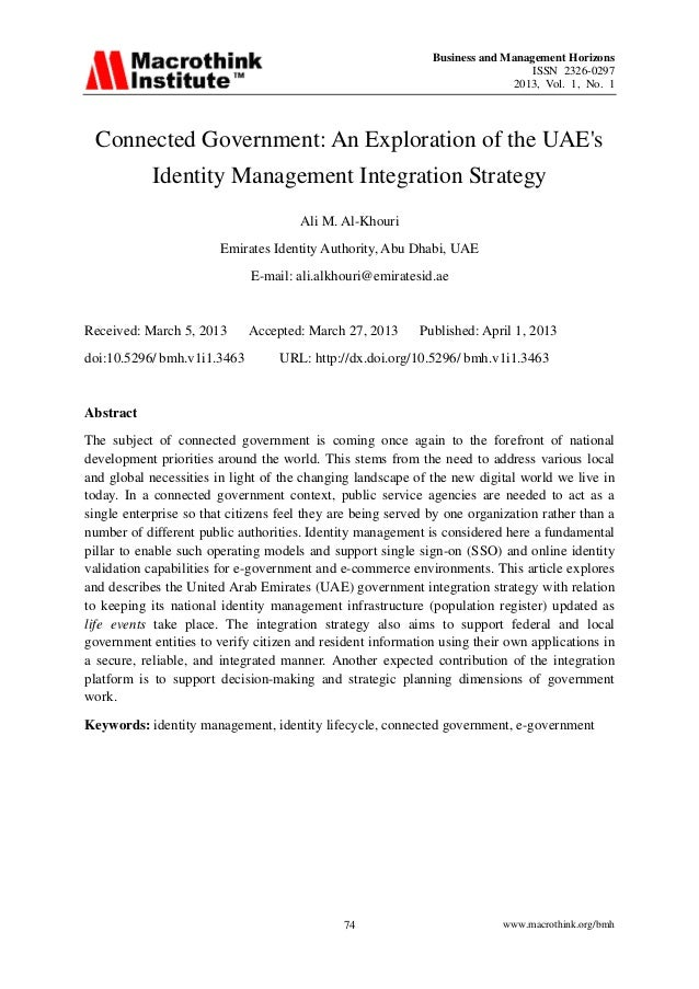 Business and Management HorizonsISSN 2326-02972013, Vol. 1, No. 1www.macrothink.org/bmh74Connected Government: An Explorat...