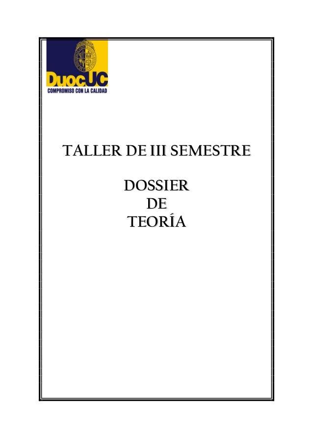 TTAALLLLEERR DDEE IIIIII SSEEMMEESSTTRREE DDOOSSSSIIEERR DDEE TTEEOORRÍÍAA