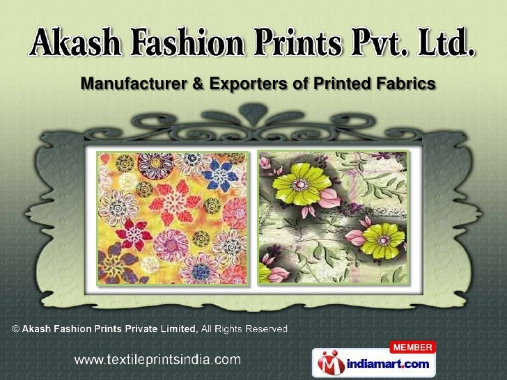 Manufacturer & Exporters of Printed Fabrics
