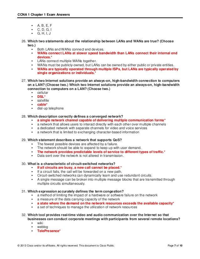 CCNA 1 (v5.1 + v6.0) Chapter 1 Exam Answers 2017 – 100% Full