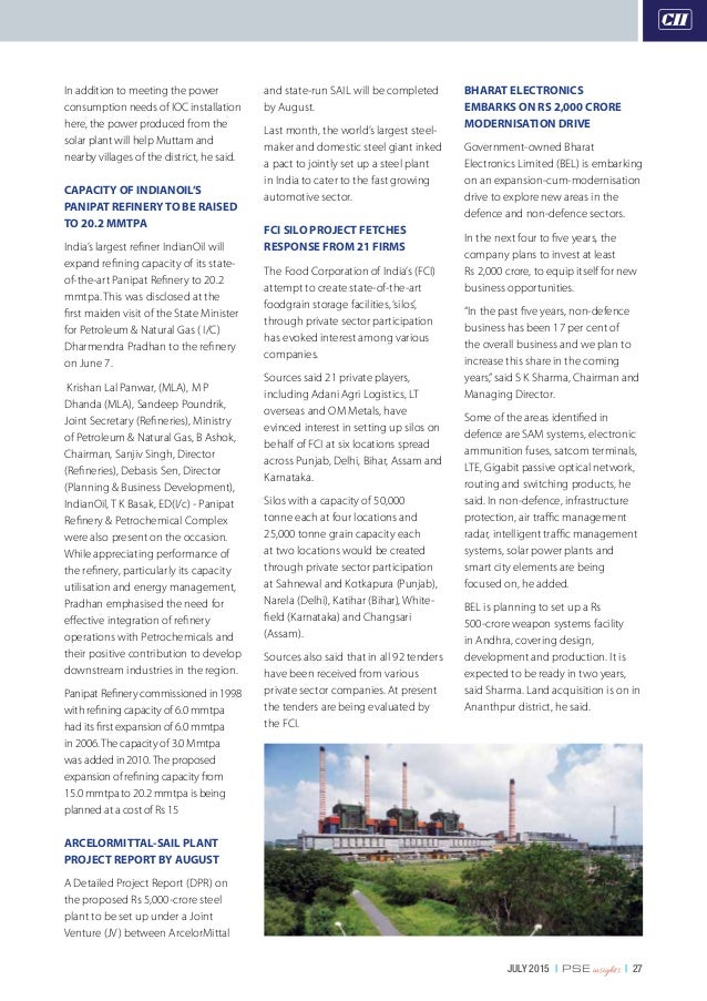 JULY 2015   PSE insights   27 In addition to meeting the power consumption needs of IOC installation here, the power produ...