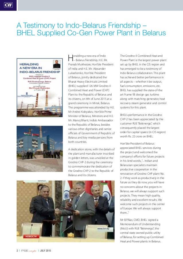 2   PSE insights   JULY 2015 Heralding a new era of Indo – Belarus friendship, H.E. Mr. Pranab Mukherjee, Hon'ble Presiden...