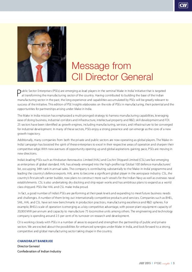 JULY 2015   PSE insights   3 Public Sector Enterprises (PSEs) are emerging as lead players in the seminal'Make in India'in...
