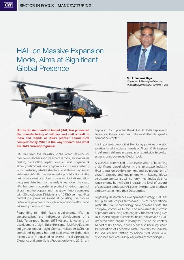 8   PSE insights   JULY 2015 SECTOR IN FOCUS – MANUFACTURING Hindustan Aeronautics Limited (HAL) has pioneered the manufac...