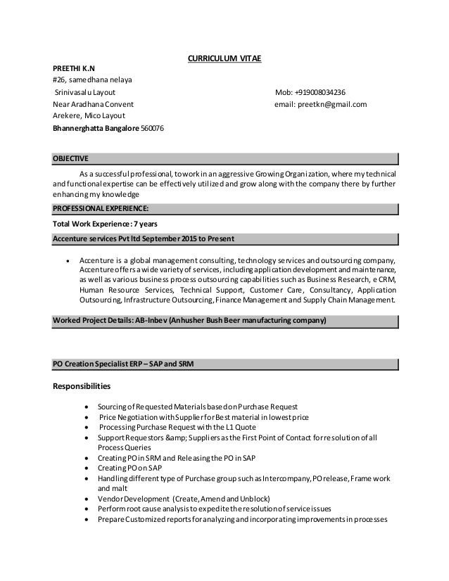 Old Fashioned My Cv Resume Accenture Photo - Resume Ideas - namanasa.com