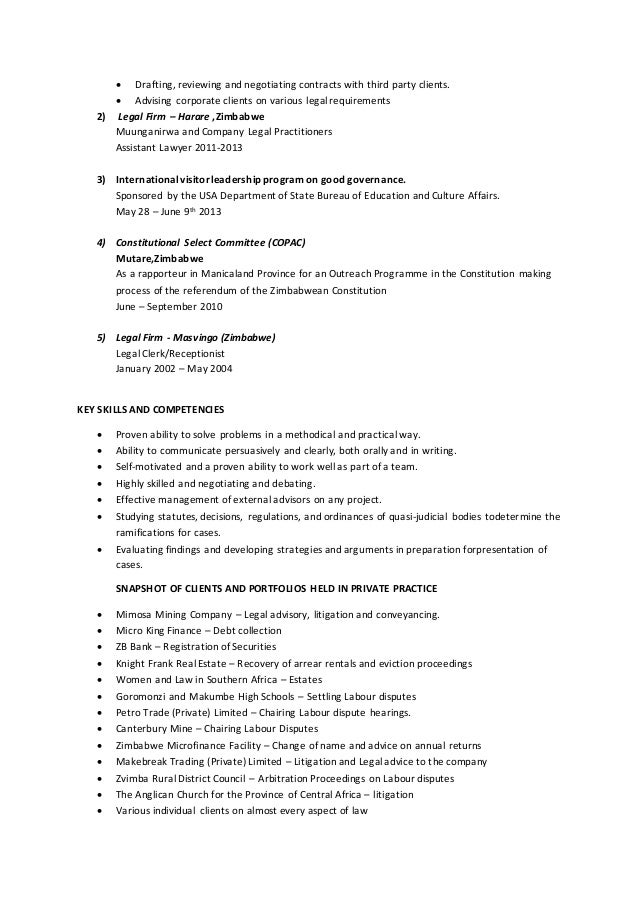 2 corporate and contract law clerk resume
