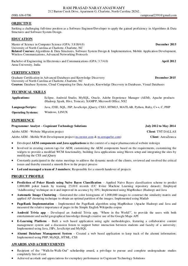 Ram Prasad Narayanaswamy Resume