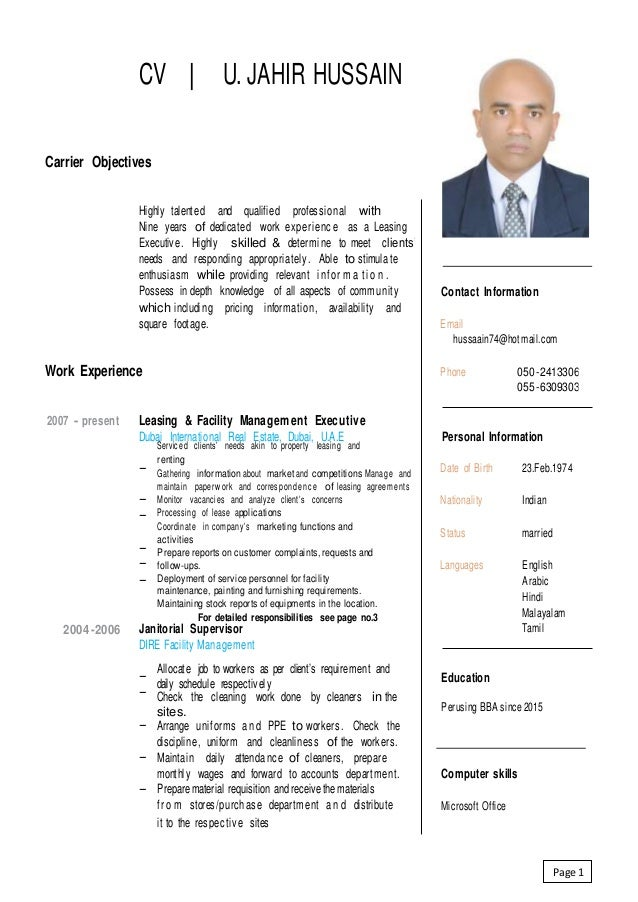 CV   U. JAHIR HUSSAIN Carrier Objectives Highly talented and qualified professional with Nine years of dedicated work expe...