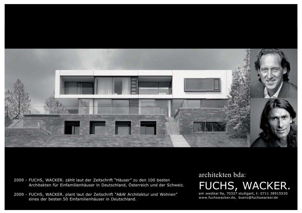 anzeige architekten bda2009 fuchs wacker zhlt laut der zeitschrift huser zu den 100 besten architekten fr einfamilienhuser in deutschland - Architektur Wohnhaus Fuchs Und Wacker