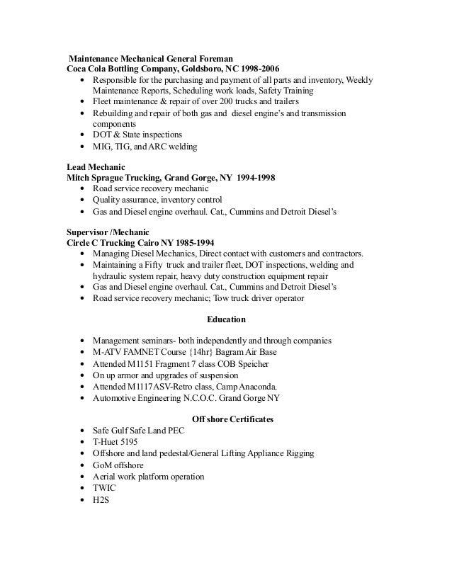 Heavy Duty Mechanic Resume Examples. Heavy Duty Mechanic Resume Sample ...