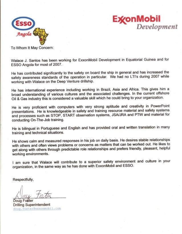 ExxonMobil Recommendation Letter