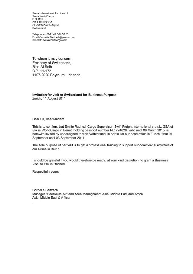Invitation Letter For Training To Zurich Emile Rached