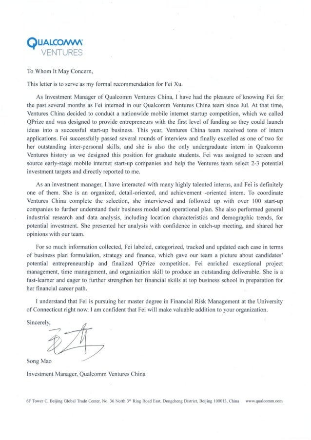 Letter Of Recommendation For Student Intern