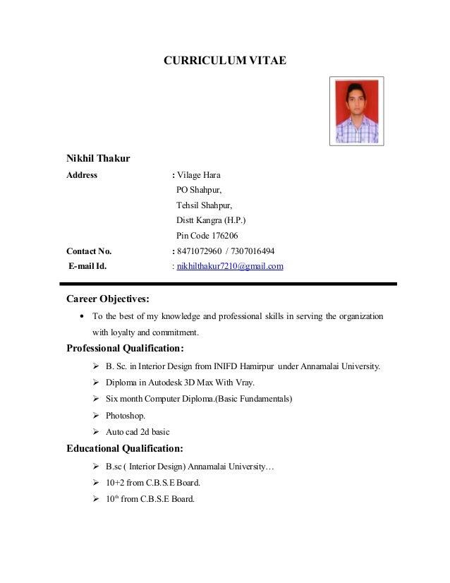 CURRICULUM VITAE Nikhil Thakur Address : Vilage Hara PO Shahpur, Tehsil  Shahpur, Distt Kangra ...