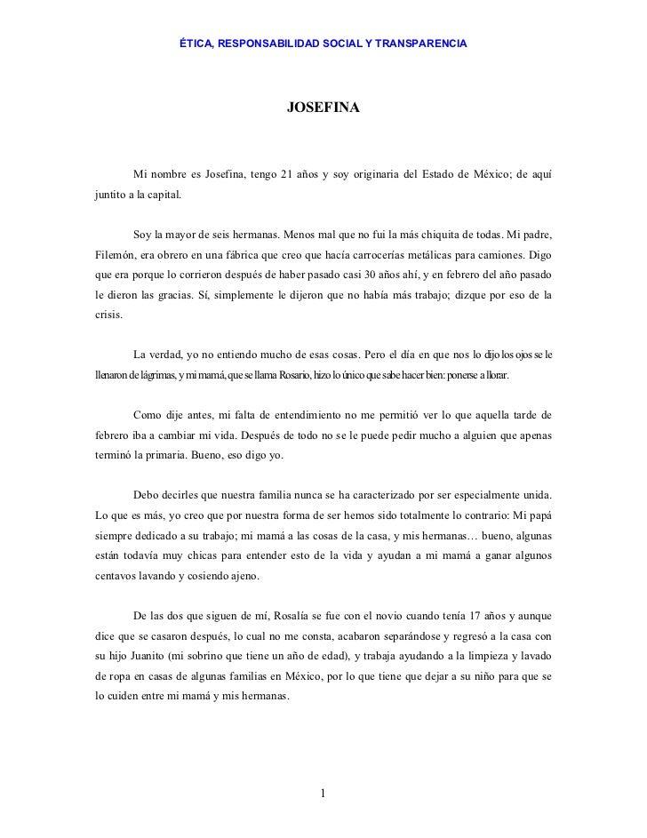 ÉTICA, RESPONSABILIDAD SOCIAL Y TRANSPARENCIA                                                 JOSEFINA          Mi nombre ...
