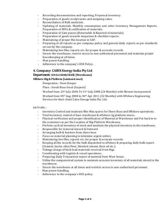 Rig Store Keeper Resume