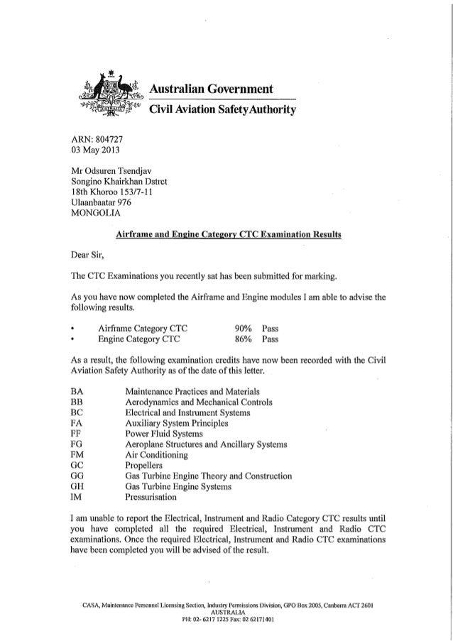 0132 - ctc exam results letter - tsendjav odsuren