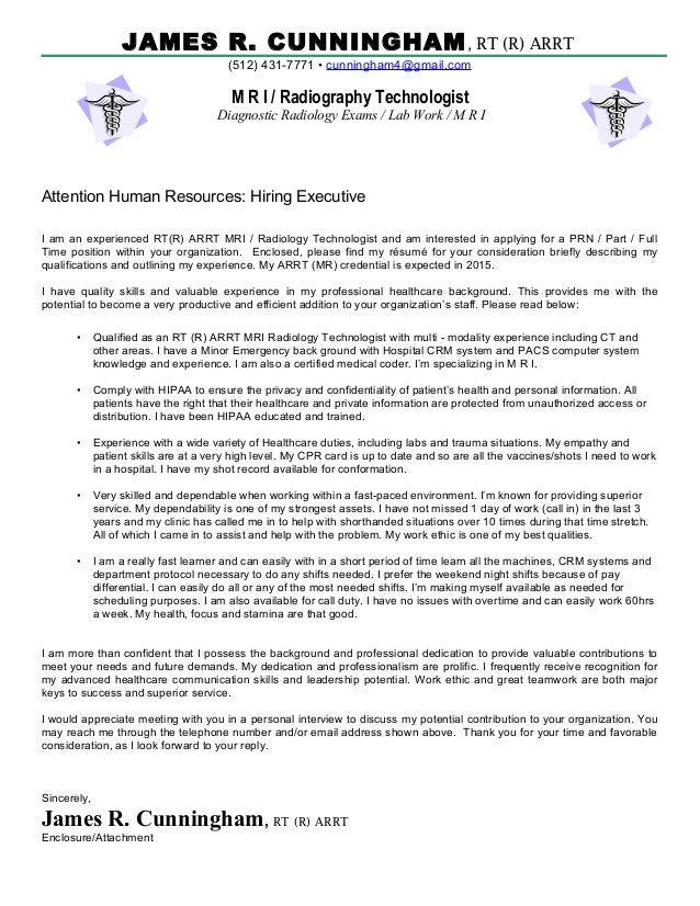 Complete Cover Letter MRI. JAMES R. CUNNINGHAM, RT (R) ARRT (512) 431 7771