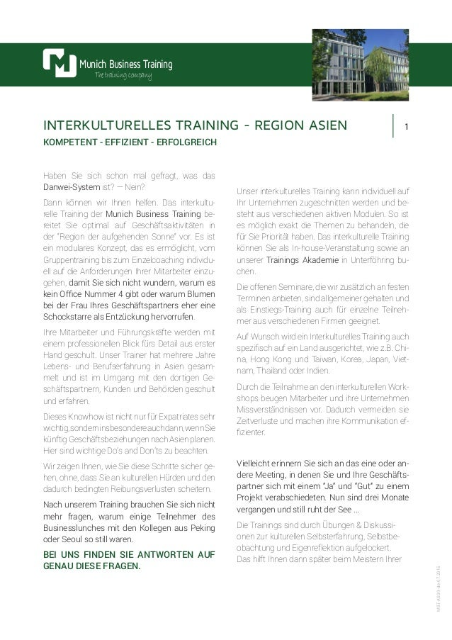 1 Munich Business Training Thetrainingcompany MBT-A009-de-07.2015 INTERKULTURELLES TRAINING - REGION ASIEN KOMPETENT - EFF...
