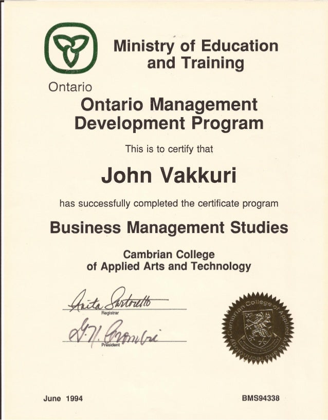 Cambrian College Ontario Management Development Program Certificate