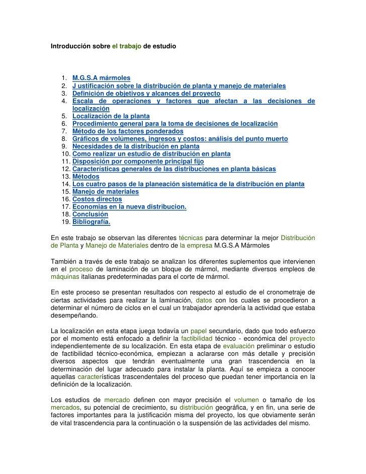 Introducción sobre el trabajo de estudio   1.  M.G.S.A mármoles   2.  J ustificación sobre la distribución de planta y man...
