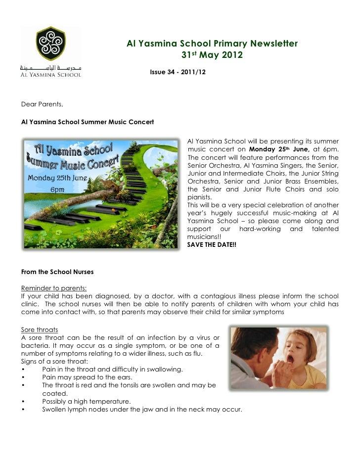 Al Yasmina School Primary Newsletter                                           31st May 2012                              ...