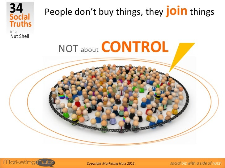People don't buy things, they join things   NOT about CONTROL          Copyright Marketing Nutz 2012   social biz with a s...