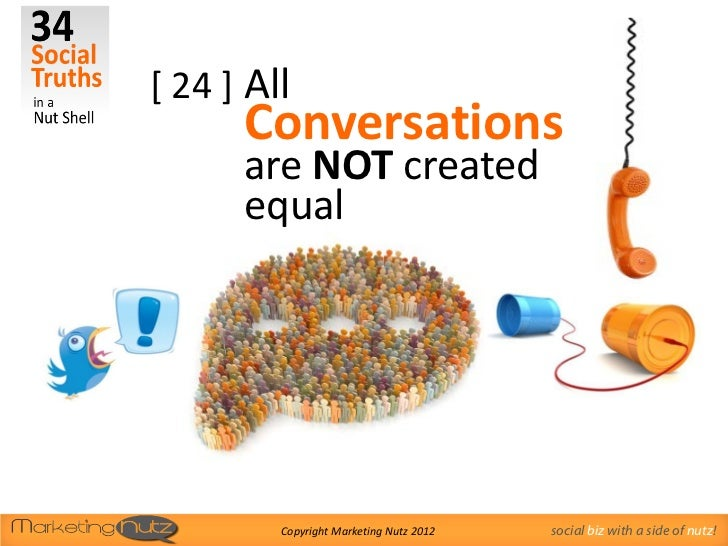 [ 24 ] All      Conversations      are NOT created      equal         Copyright Marketing Nutz 2012   social biz with a si...