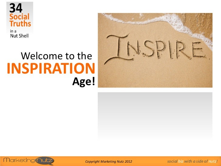 Welcome to theINSPIRATION           Age!             Copyright Marketing Nutz 2012   social biz with a side of nutz!