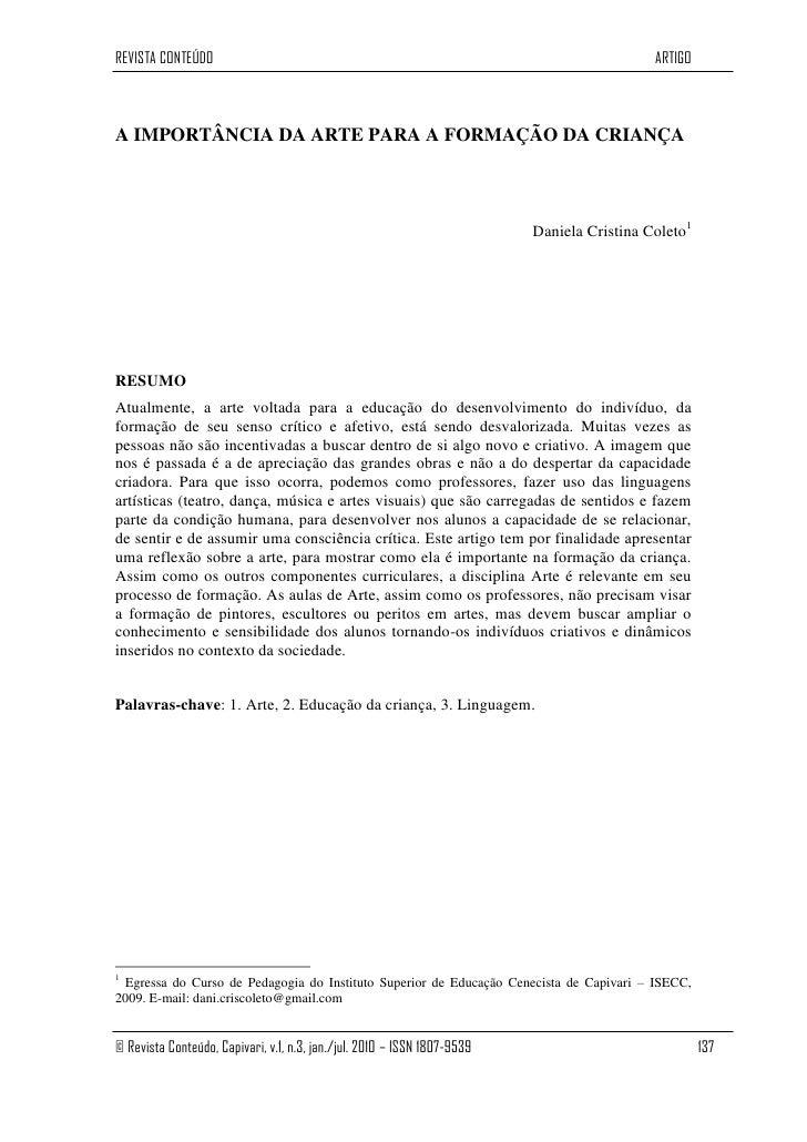 REVISTA CONTEÚDO                                                                            ARTIGOA IMPORTÂNCIA DA ARTE PA...