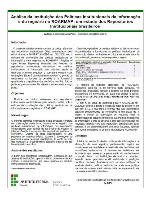 Análise da instituição das políticas institucionais de informação e do registro no ROARMAP: um estudo dos repositórios ins...