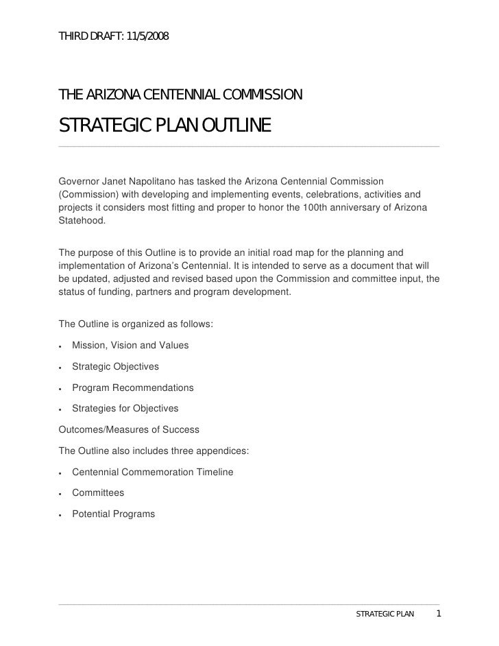 THIRD DRAFT: 11/5/2008     THE ARIZONA CENTENNIAL COMMISSION  STRATEGIC PLAN OUTLINE _____________________________________...