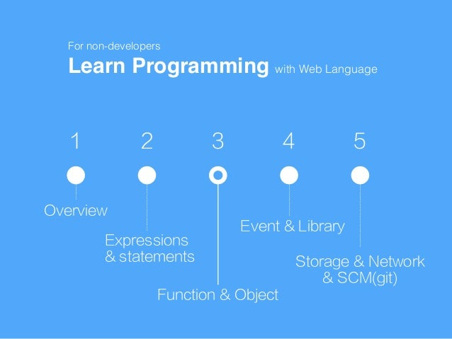 1 2 3 4 5 Overview Expressions & statements Function & Object Event & Library Storage & Network & SCM(git) Learn Programmi...