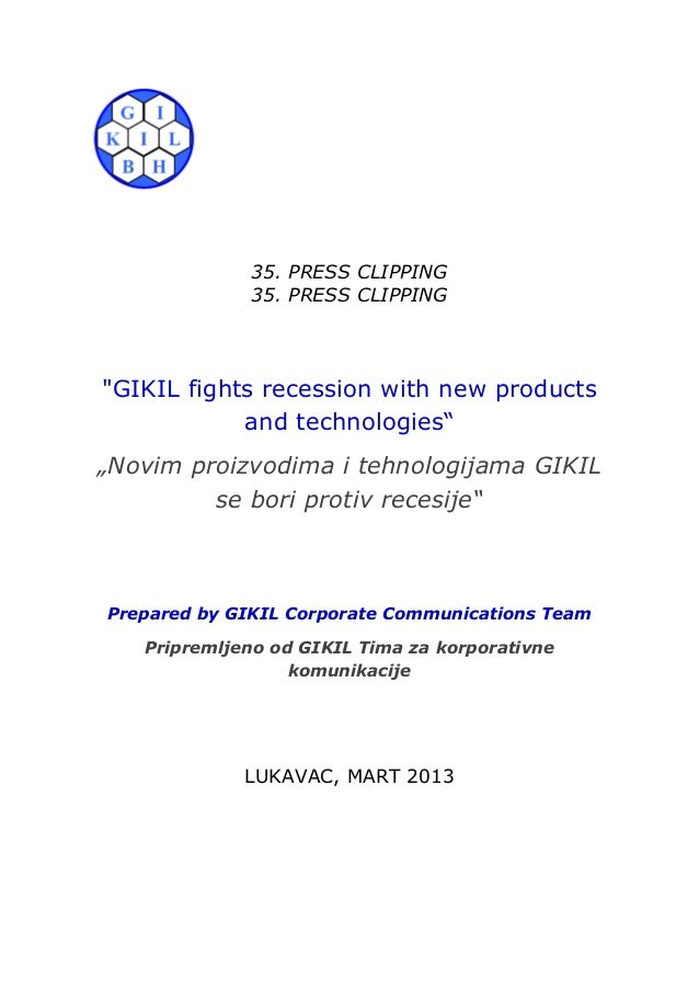 """35. PRESS CLIPPING             35. PRESS CLIPPING""""GIKIL fights recession with new products            and technologies""""""""No..."""